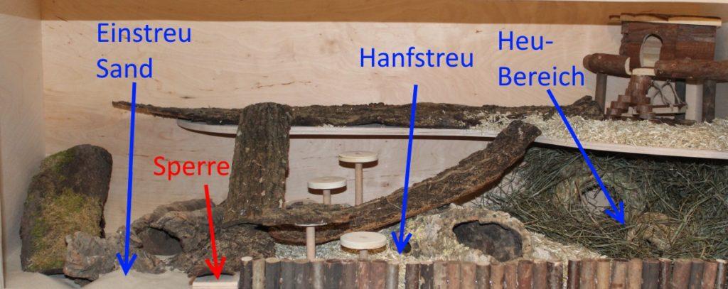 Aufteilung bereits bei der Hamsterkäfig Einrichtung